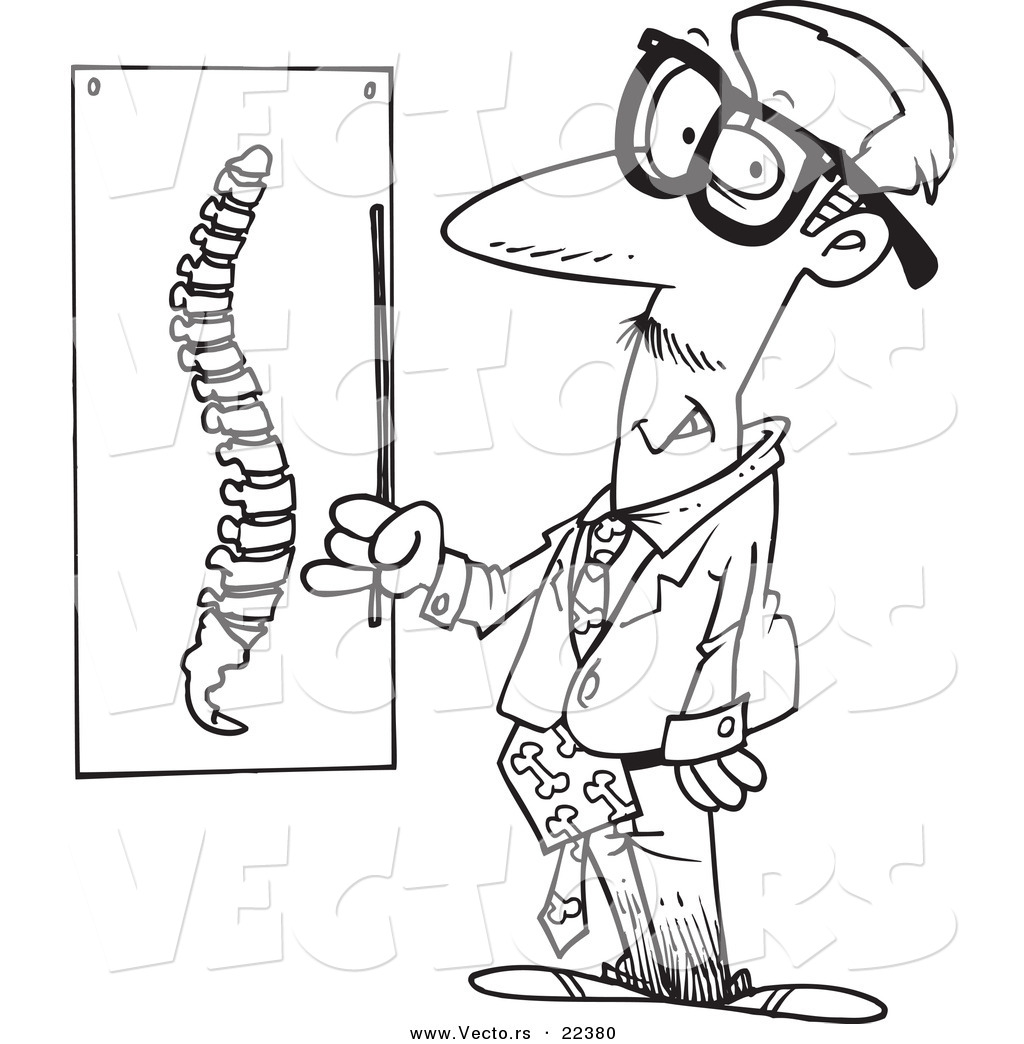 vector of a cartoon chiropractor by a spine chart coloring page