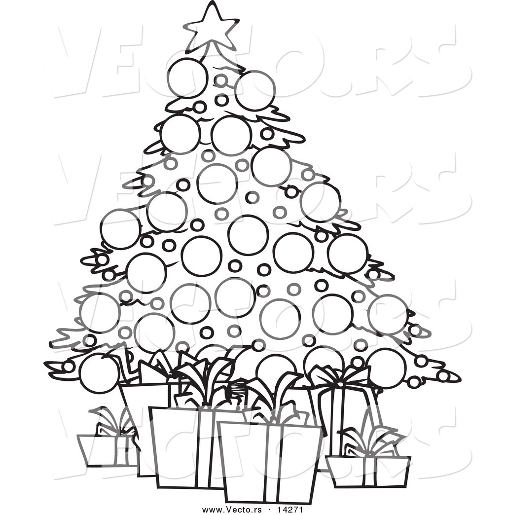 Vector Of A Cartoon Christmas Tree And Gifts