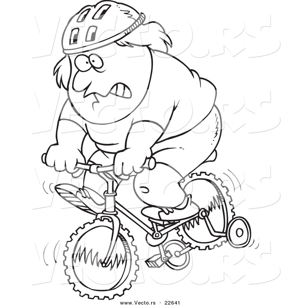 Vector of a cartoon chubby man riding a bike with training for Bike riding coloring pages