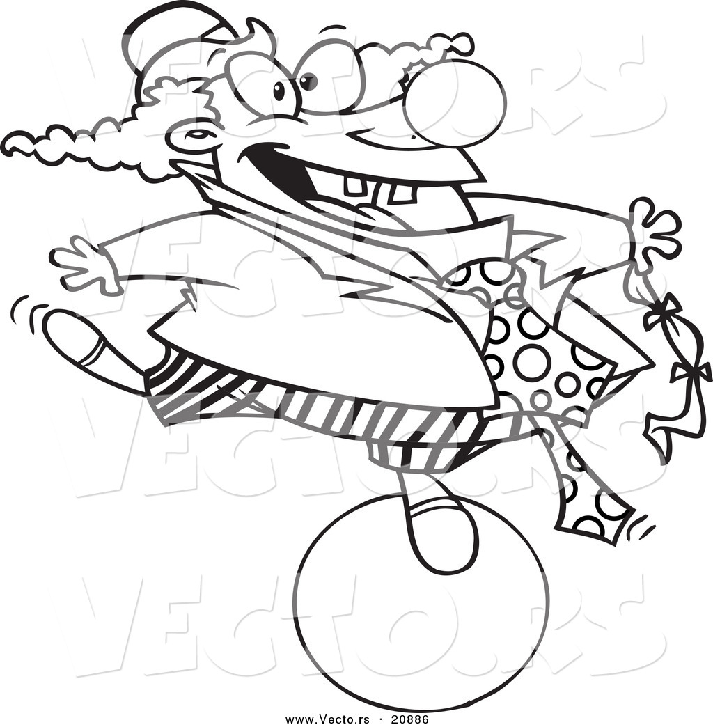 vector of a cartoon clown balancing on a ball coloring page