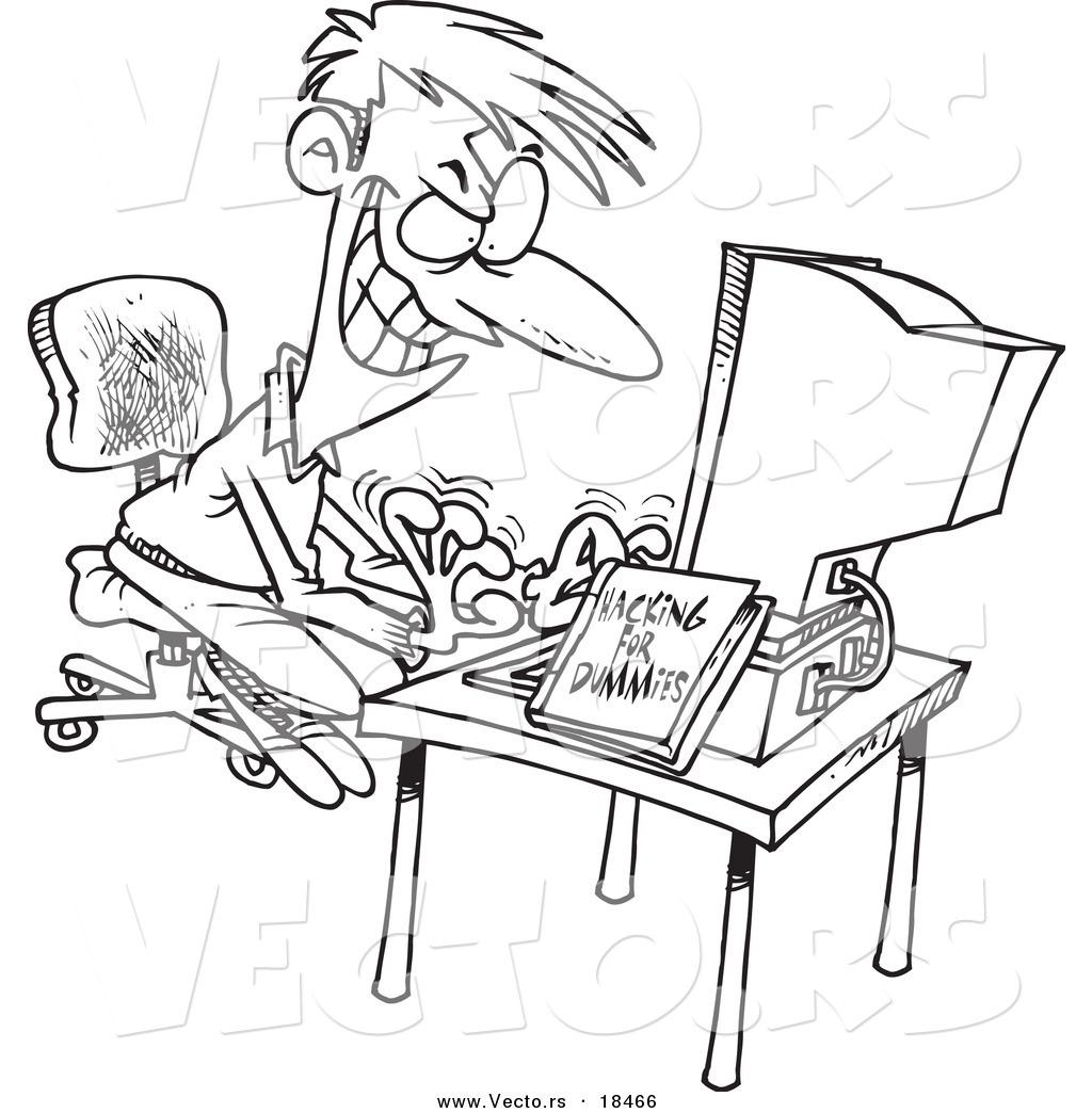 vector of a cartoon computer hacking man
