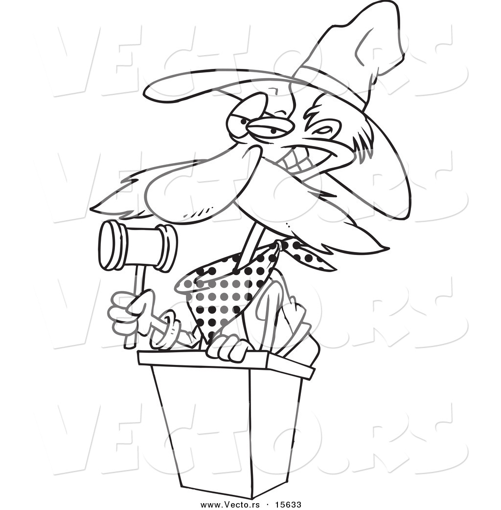 Vector Of A Cartoon Cowboy Auctioneer Coloring Page