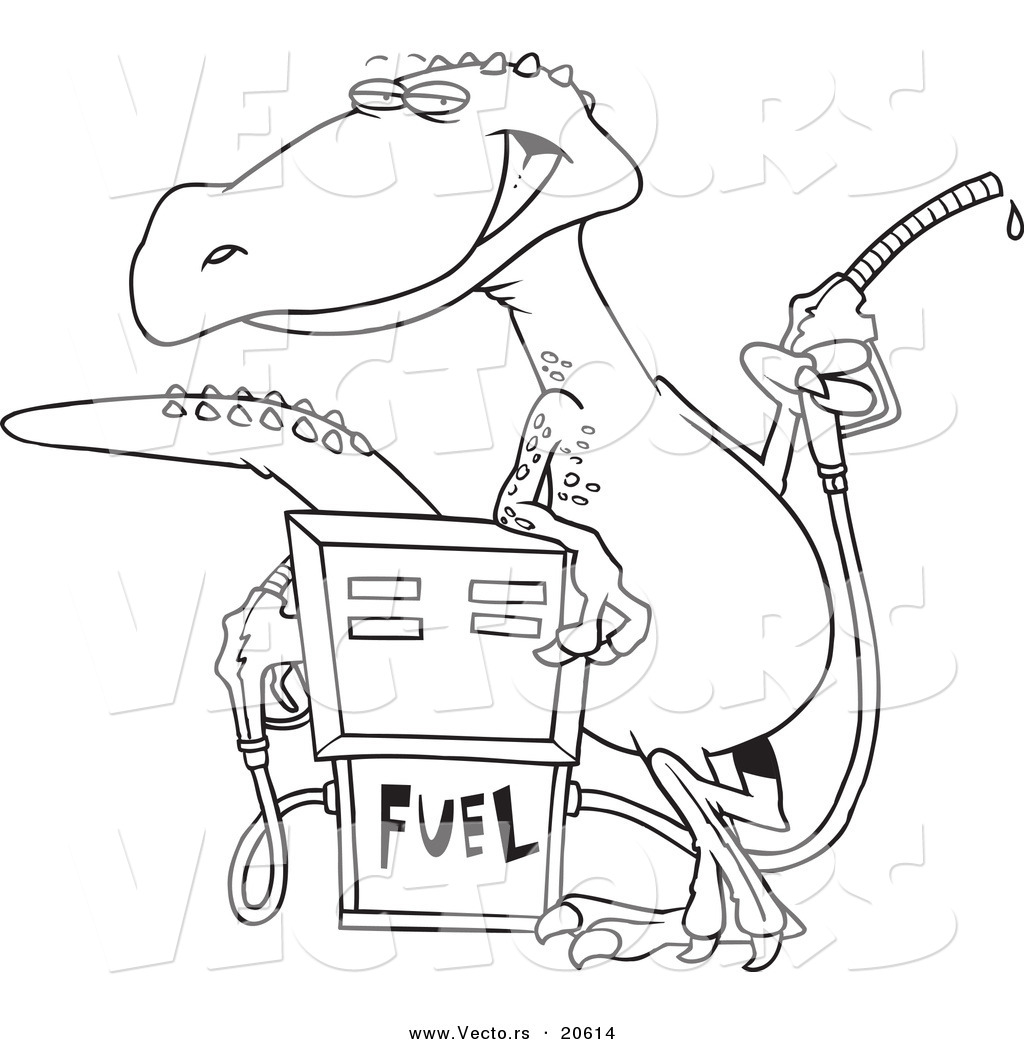 vector of a cartoon dinosaur standing by a gas pump