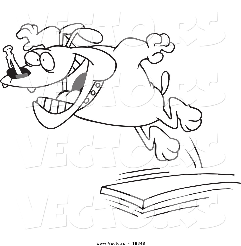 vector of a cartoon diving board - outlined coloring page by ron leishman