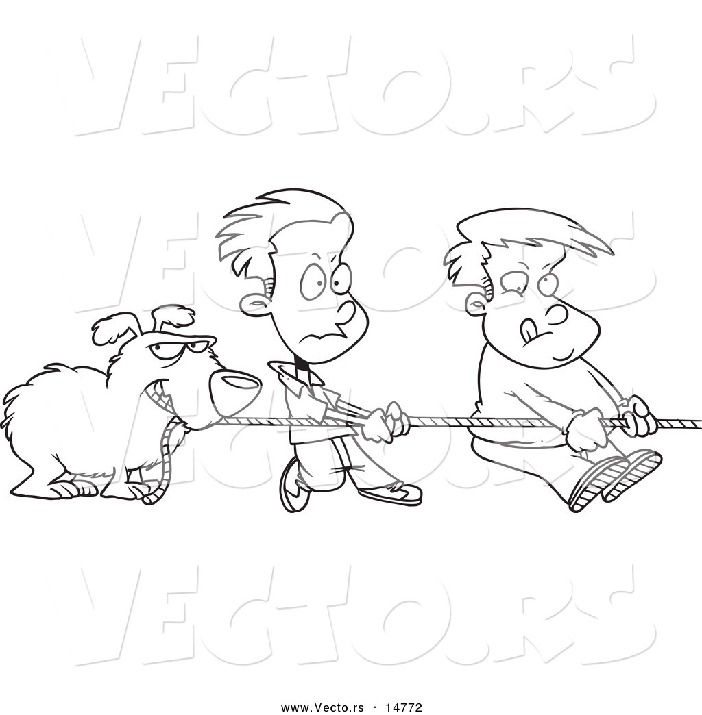 vector of a cartoon dog and boys tugging on a rope - coloring page outline by toonaday