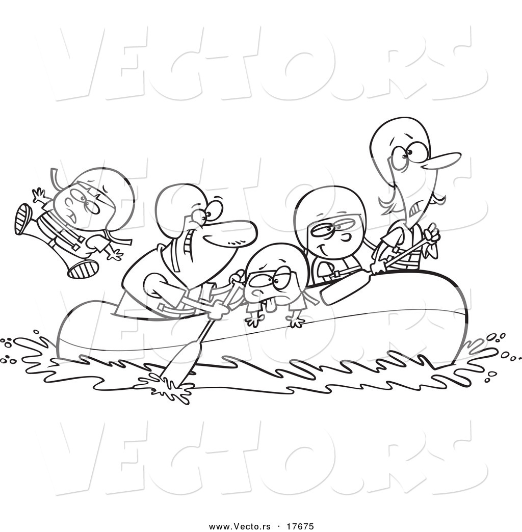 vector of a cartoon family rafting coloring page outline by