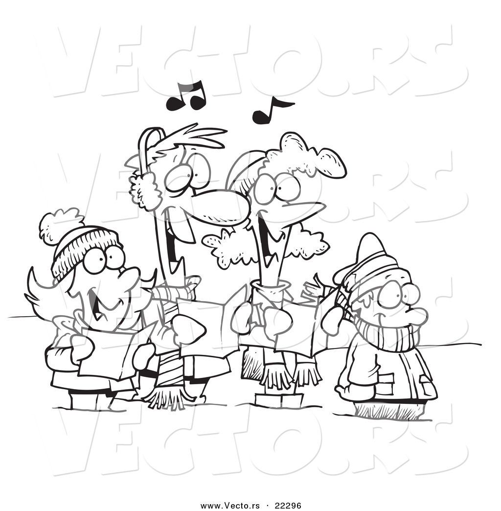 Vector Of A Cartoon Family Singing Christmas Carols