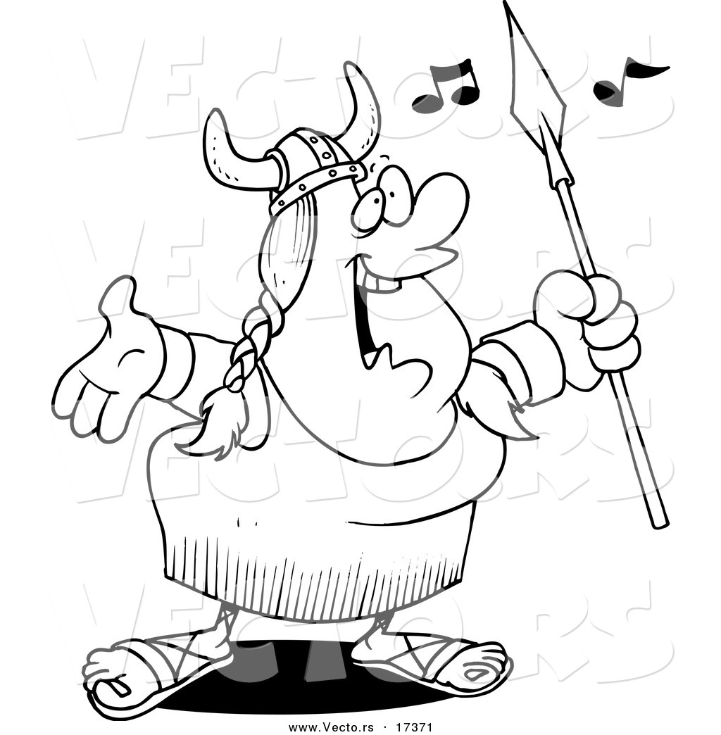 Coloring pages of viking images - Vector Of A Cartoon Female Viking Opera Singer Coloring Page Outline