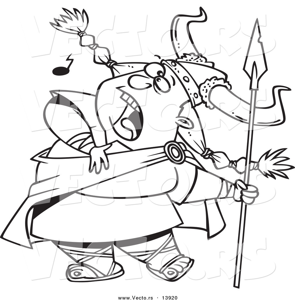 Coloring pages of viking images - Vector Of A Cartoon Female Viking Singing A Song And Holding A Spear Coloring Page