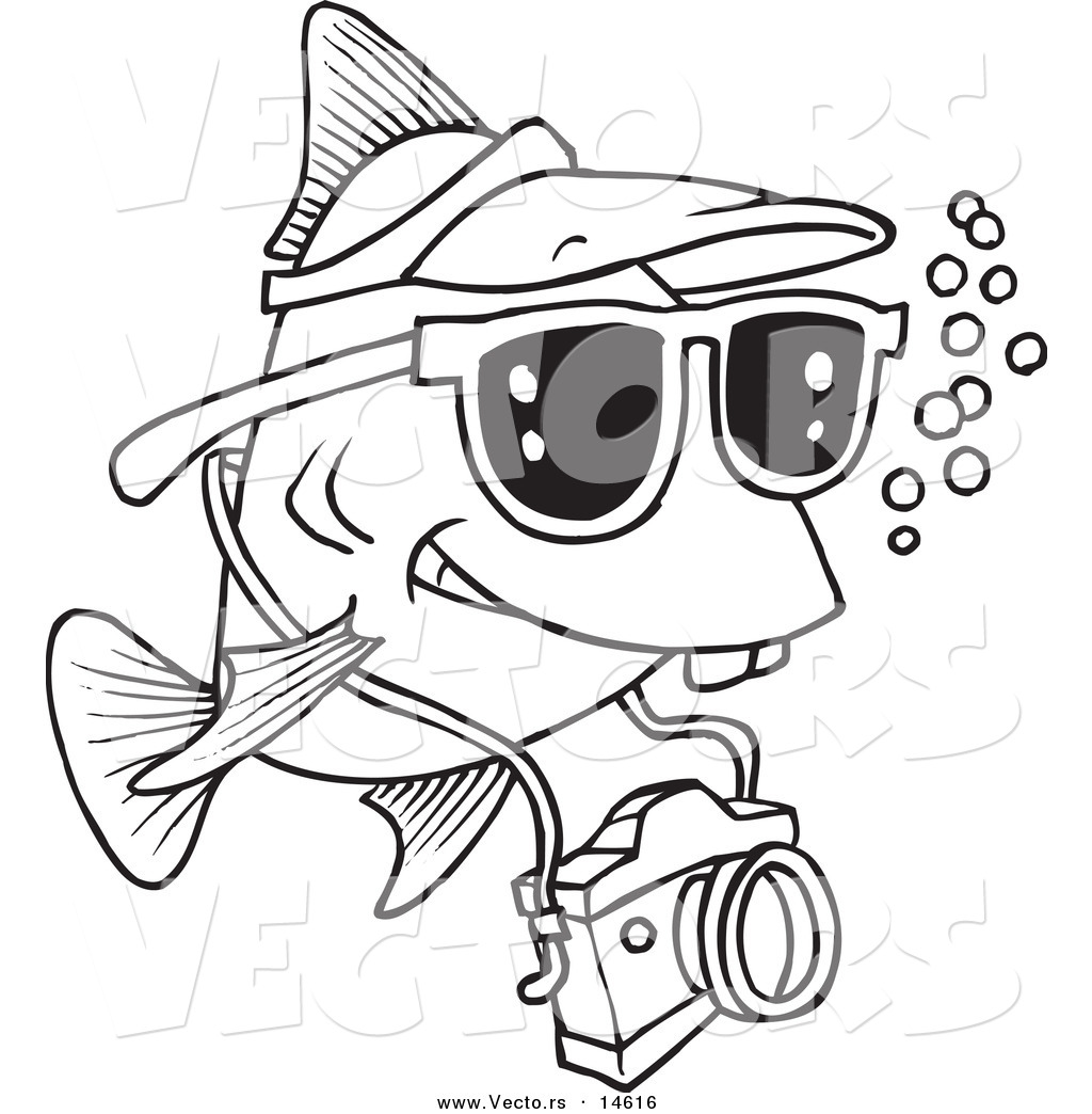 Vector of a Cartoon Fish Tourist Swimming with a Camera Coloring