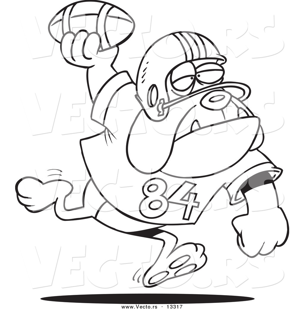 vector of a cartoon football bulldog throwing the ball coloring