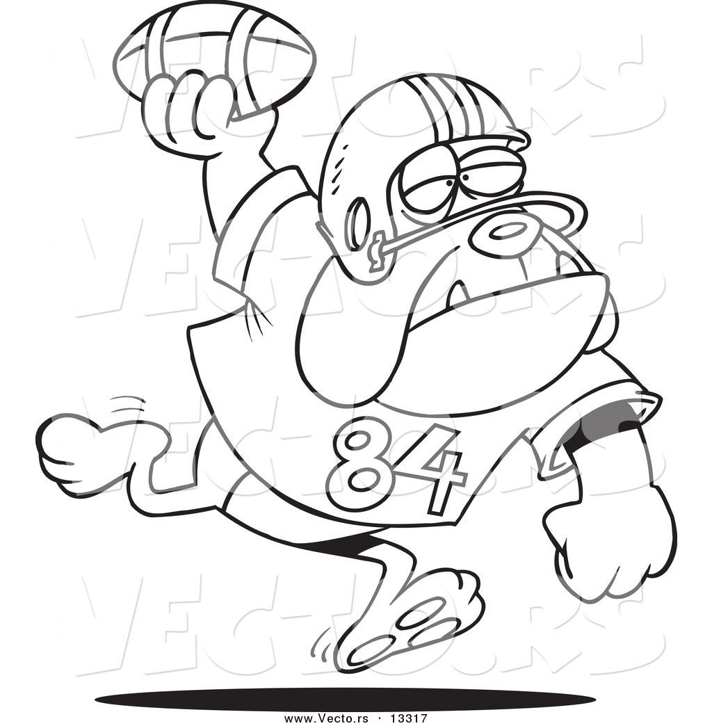 vector of a cartoon football bulldog throwing the ball coloring