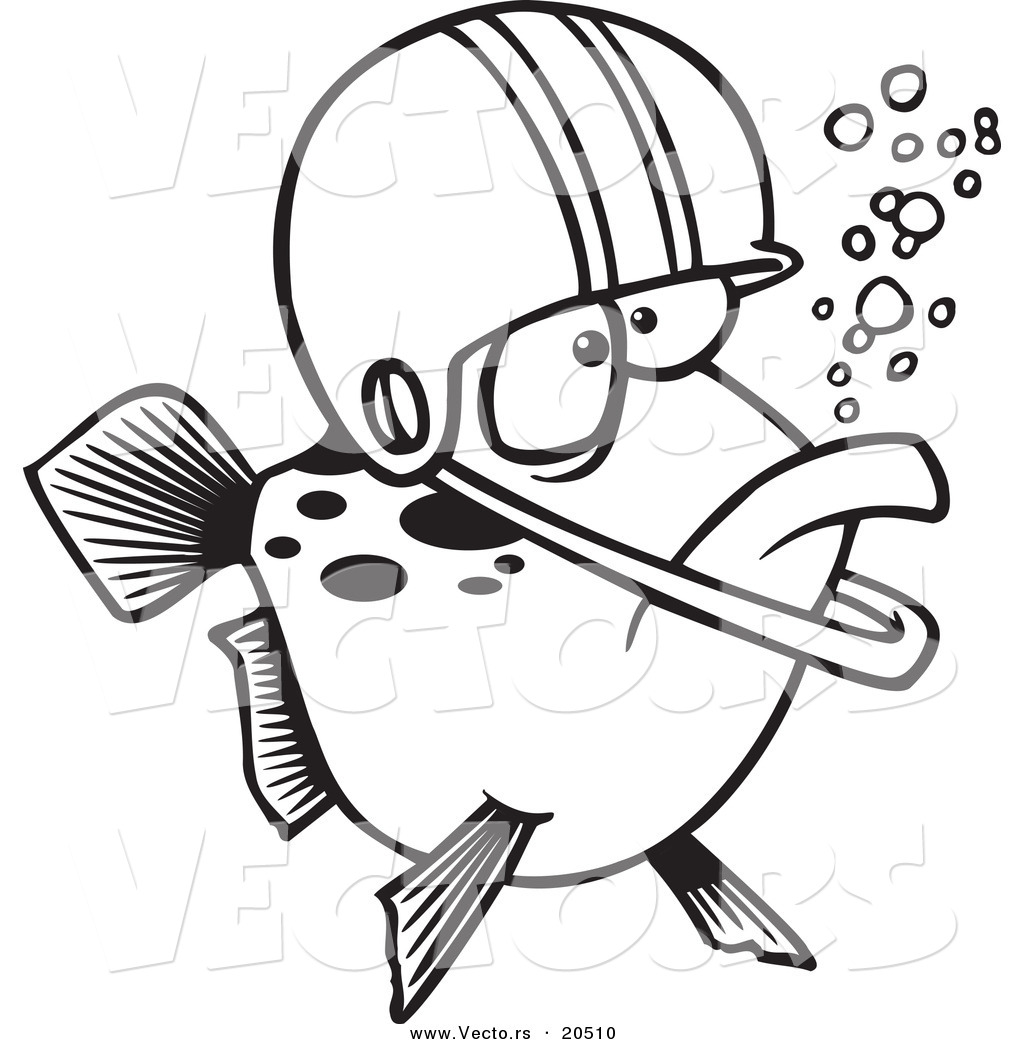 vector of a cartoon football fish wearing a helmet coloring page
