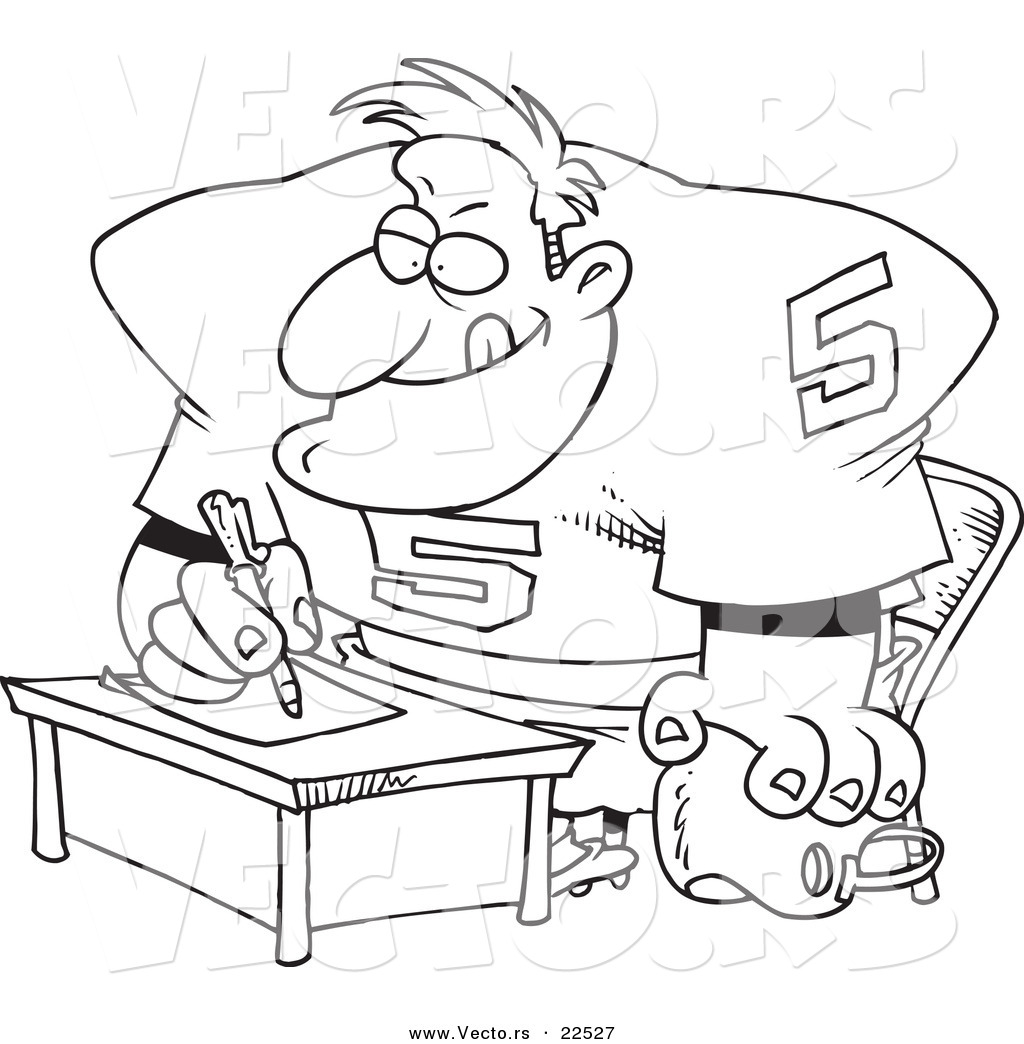 vector of a cartoon football player signing a contract coloring