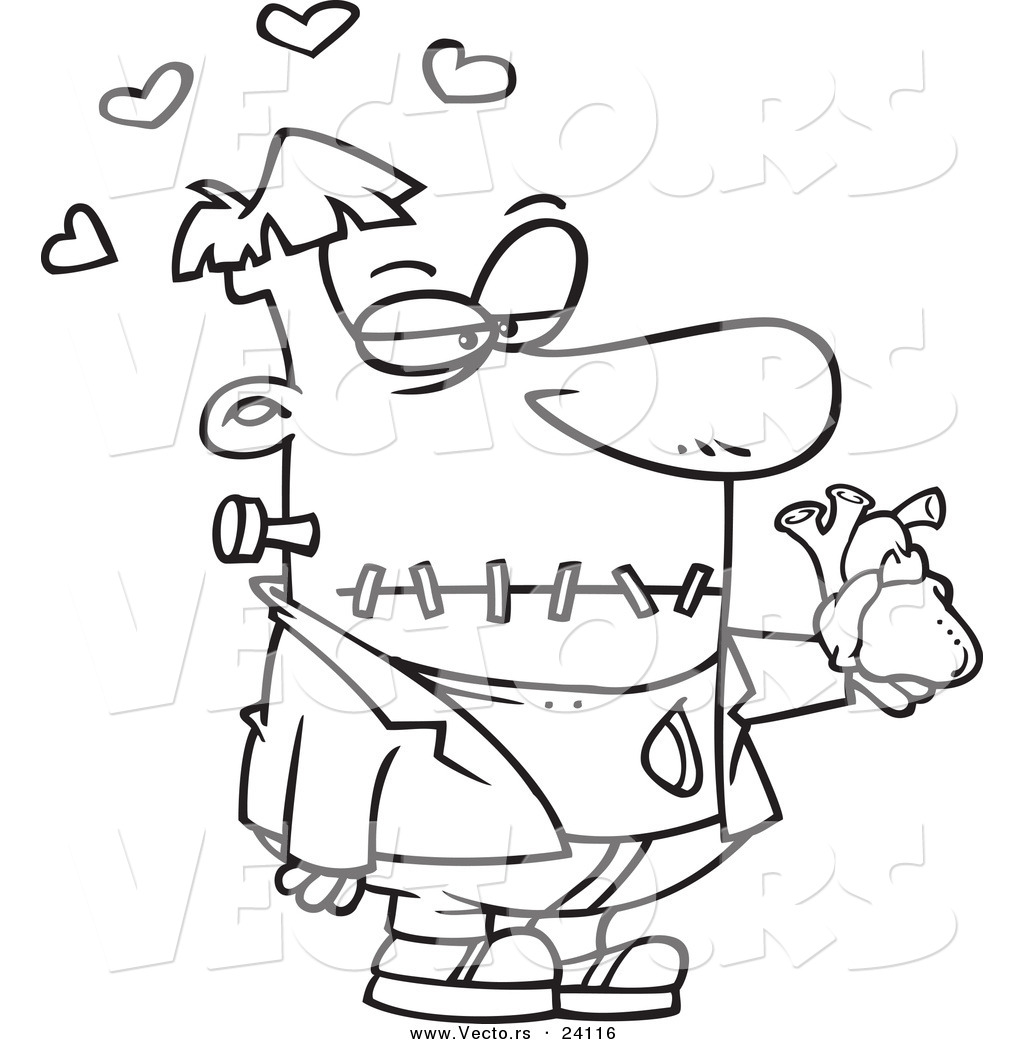 vector of a cartoon frankenstein holding a heart coloring page
