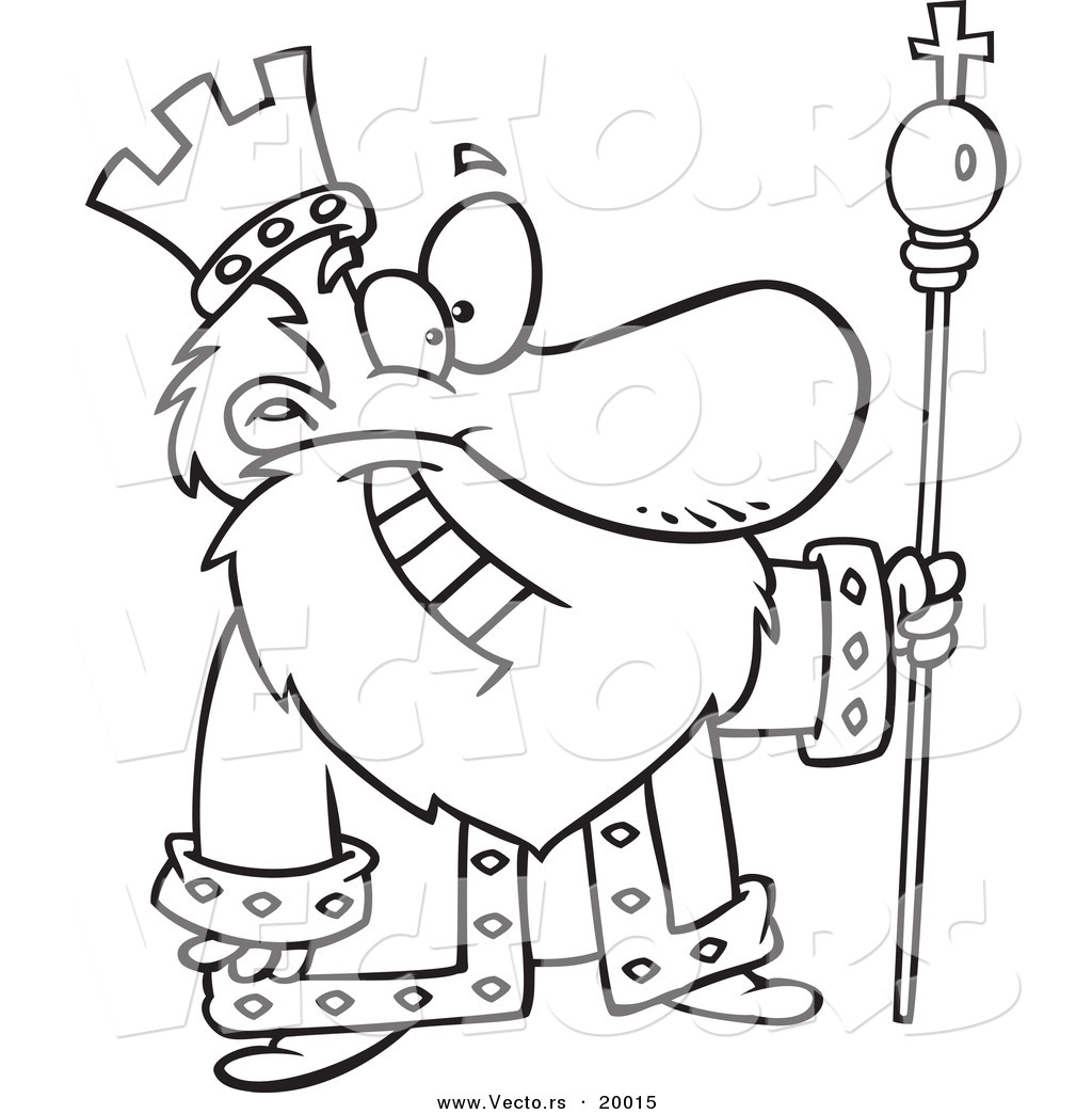vector of a cartoon friendly king outlined coloring page by