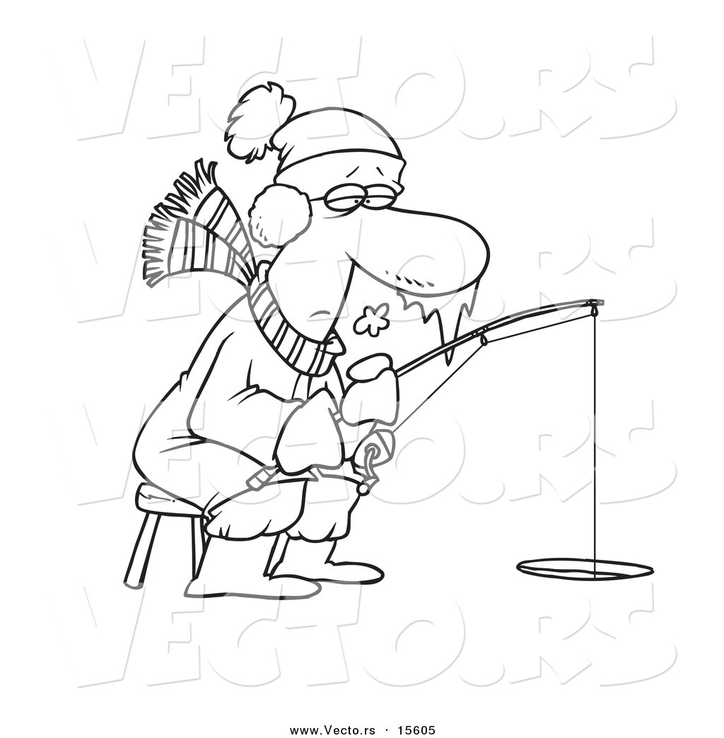 Vector Of A Cartoon Frozen Man Ice Fishing Coloring Page