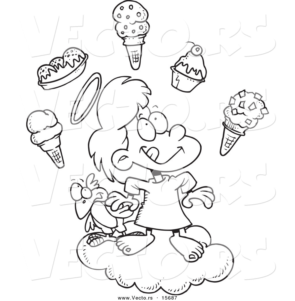 Vector of a Cartoon Girl in Heaven with Ice Cream - Coloring Page ...