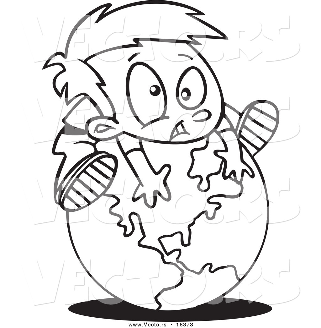 Vector Of A Cartoon Globe Outlined Coloring Page Drawing By Ron