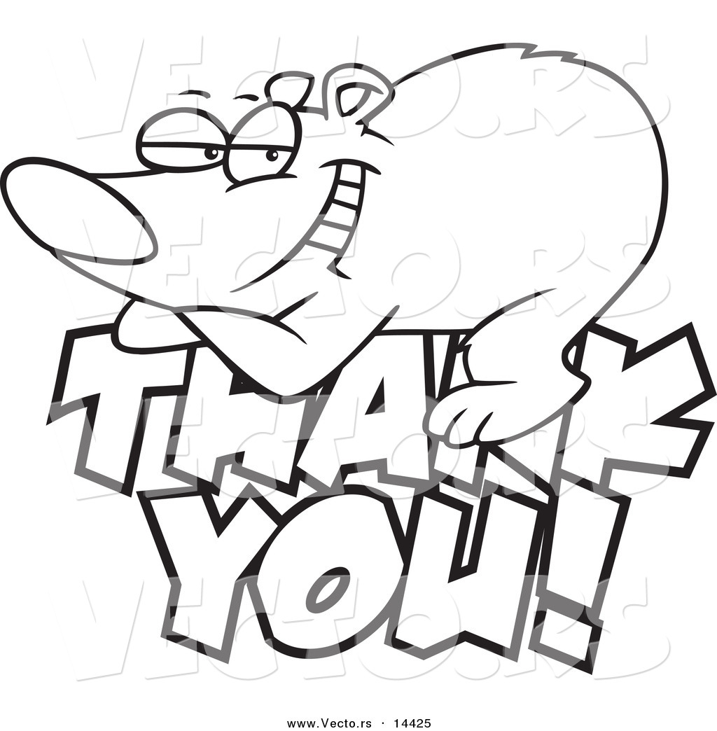 Vector Of A Cartoon Grateful Bear Resting On Thank You Text