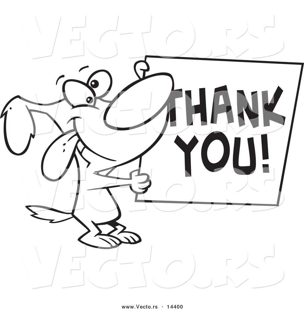 Coloring pages thank you - Vector Of A Cartoon Grateful Dog Holding A Thank You Sign Coloring Page Outline