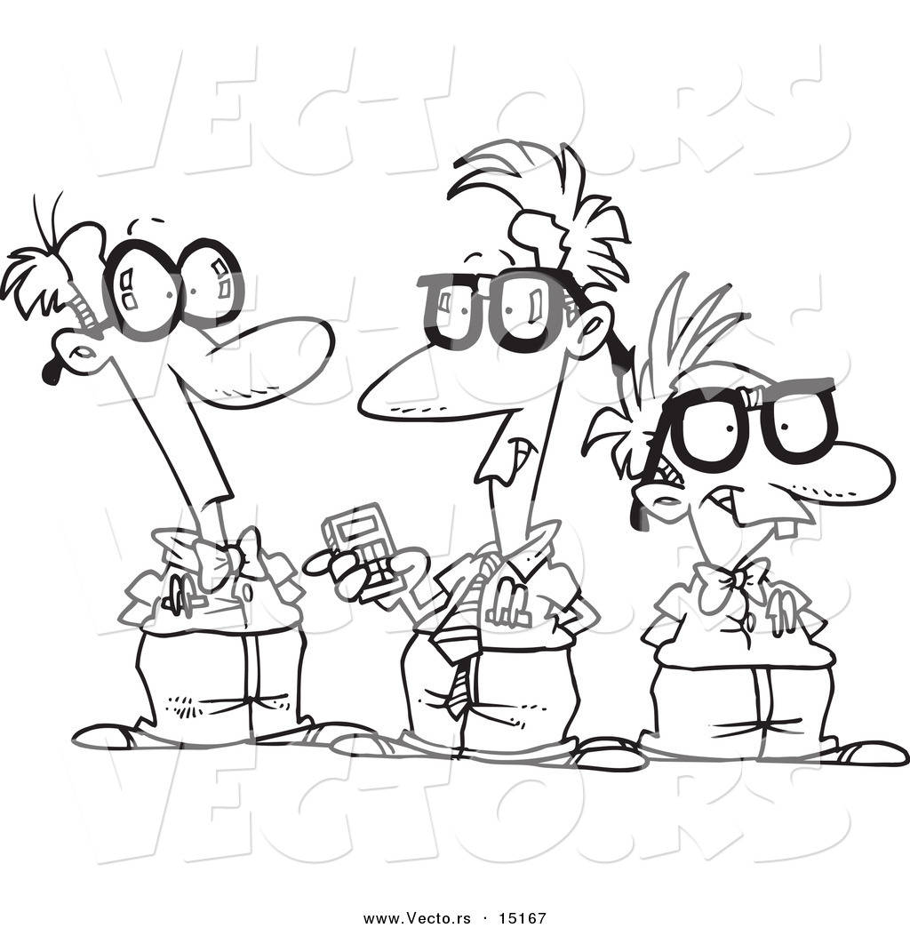Vector Of A Cartoon Group Nerds Talking Coloring Page