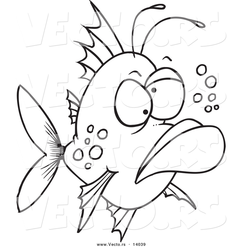 Uncategorized Cartoon Fish Coloring Pages vector of a cartoon grumpy ugly fish coloring page outline by outline
