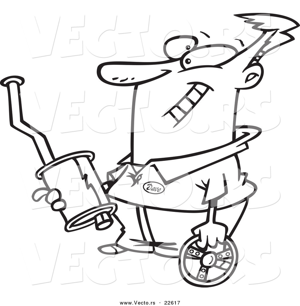 Vector Of A Cartoon Guy Holding Car Parts Coloring Page Outline By Toonaday 22617 Pages