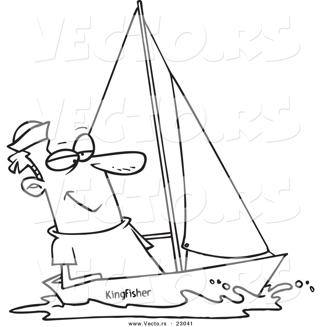 vector of a cartoon guy sailing coloring page outline by