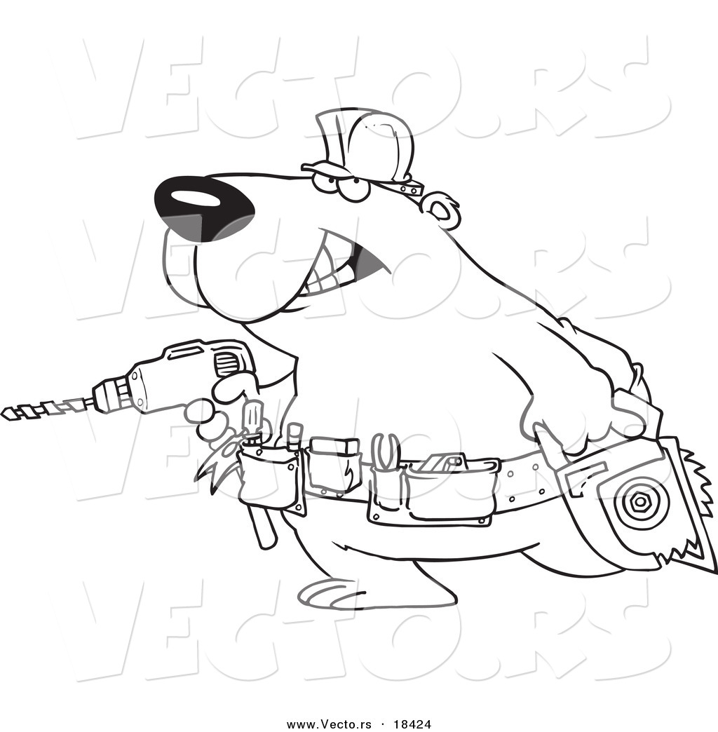 Tool Belt Coloring Page Outlined Coloring Page