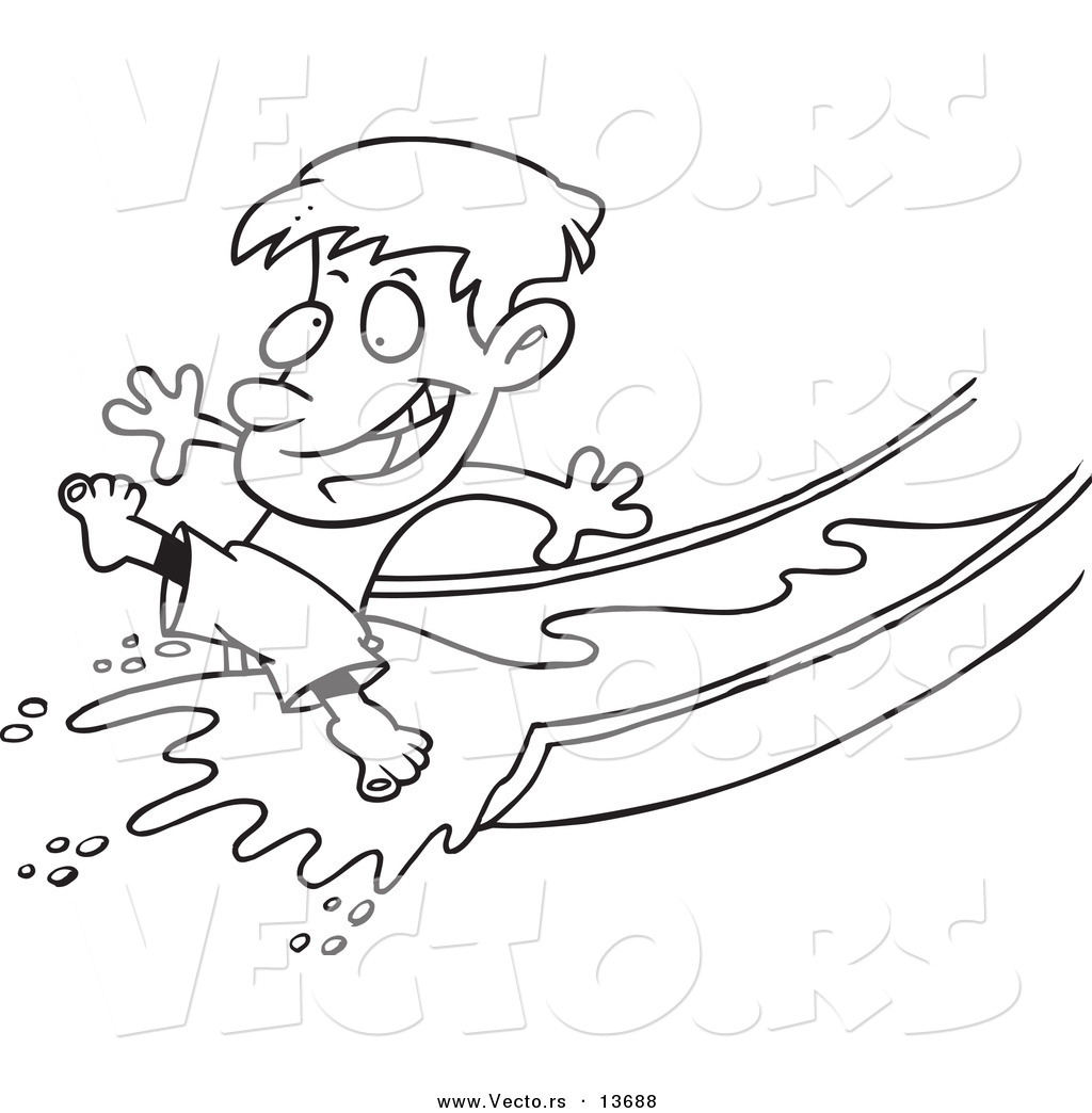 vector of a cartoon happy boy on a water slide