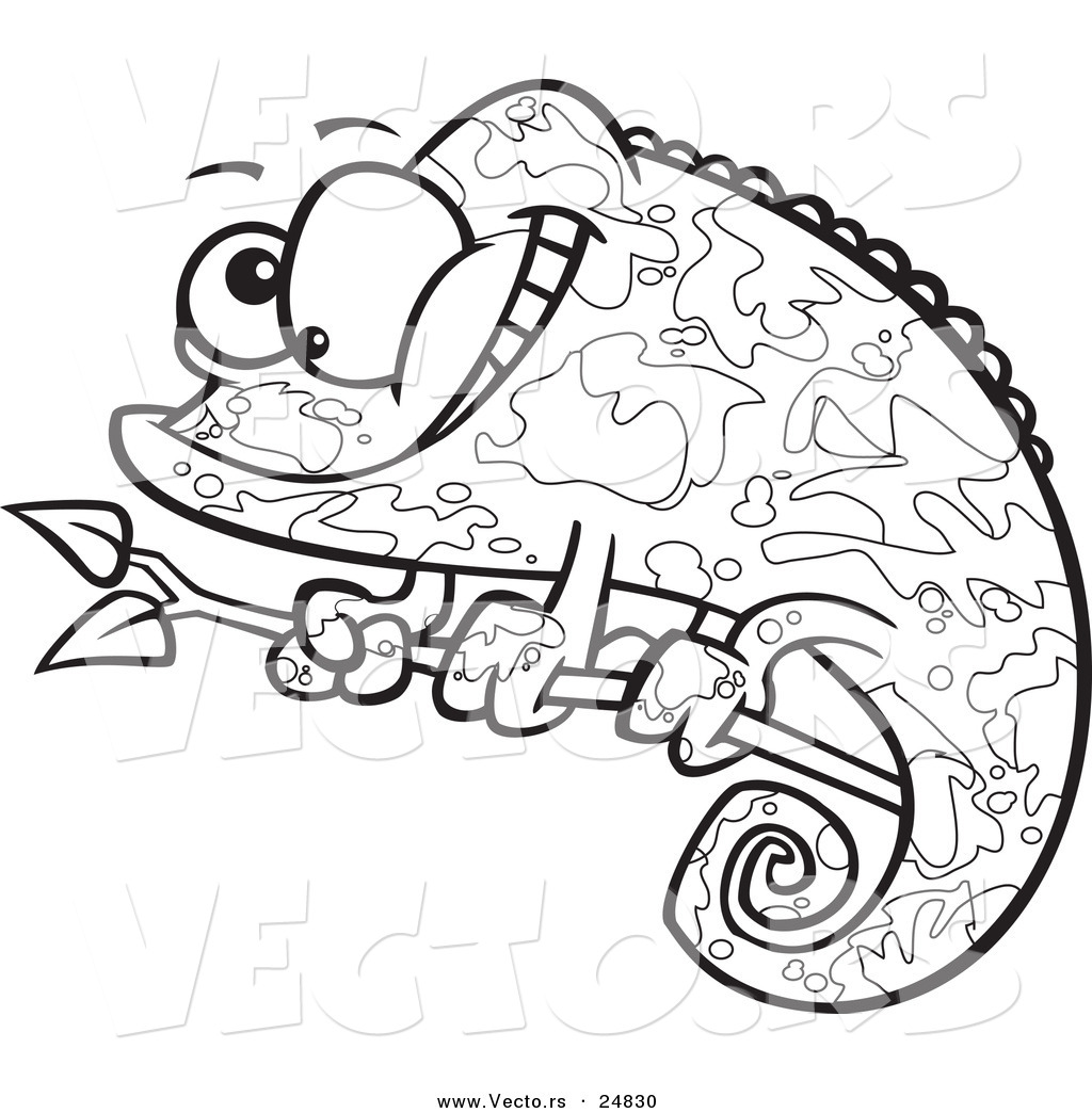 Vector of a Cartoon Happy Chameleon
