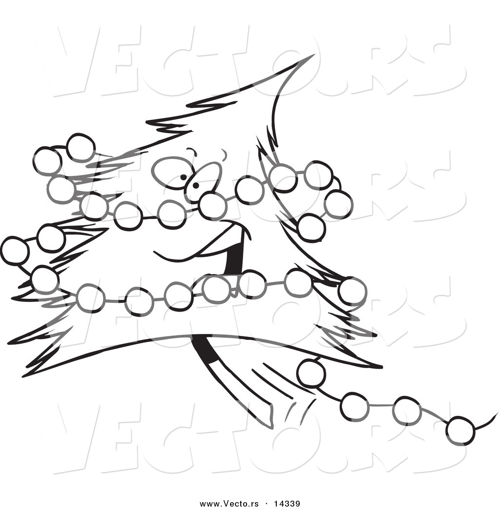Of A Cartoon Happy Christmas Tree With Baubles Coloring Page Outline