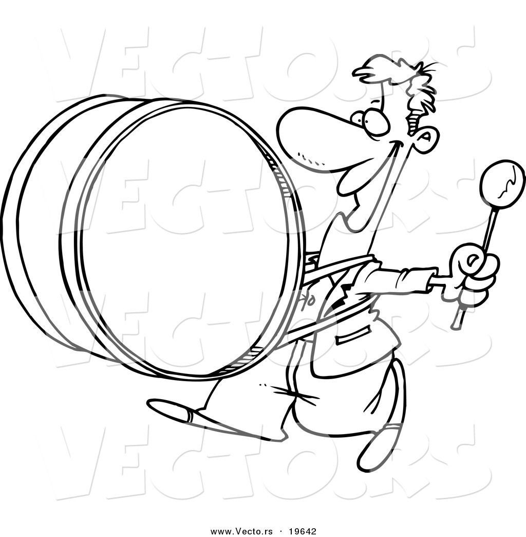 Coloring pictures drums - Coloring Pictures Drums Vector Of A Cartoon Happy Drummer Outlined Coloring Page By Ron