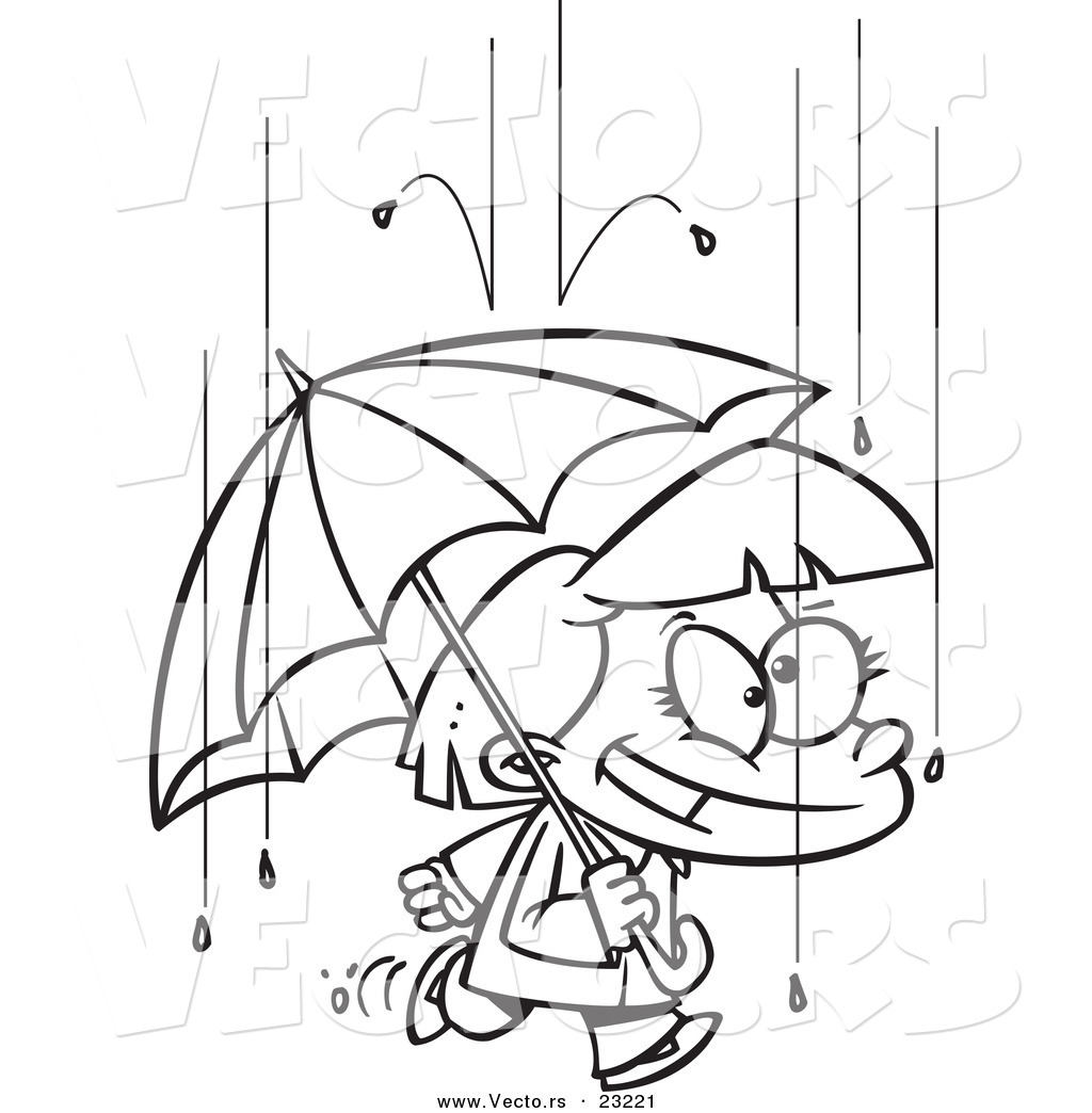 Vector of a Cartoon Happy Girl with an Umbrella in the