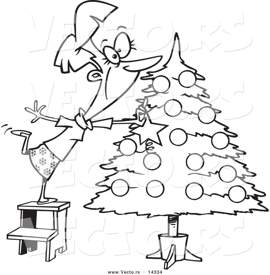 Vector of a cartoon happy lady decorating a christmas tree for Decor outline