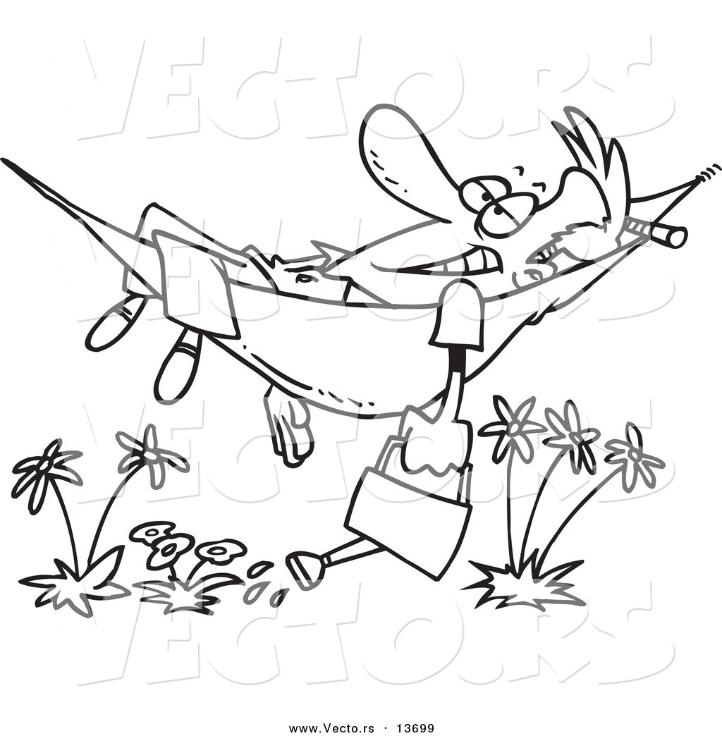 Vector Of A Cartoon Happy Man Relaxing In Hammock And