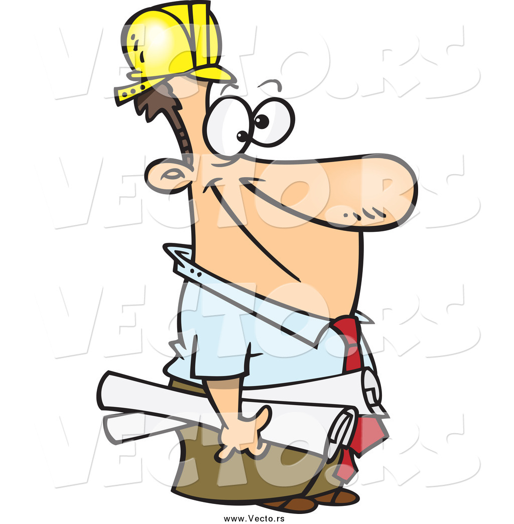 Construction Manager Cartoon : Vector of a cartoon happy white male construction manager