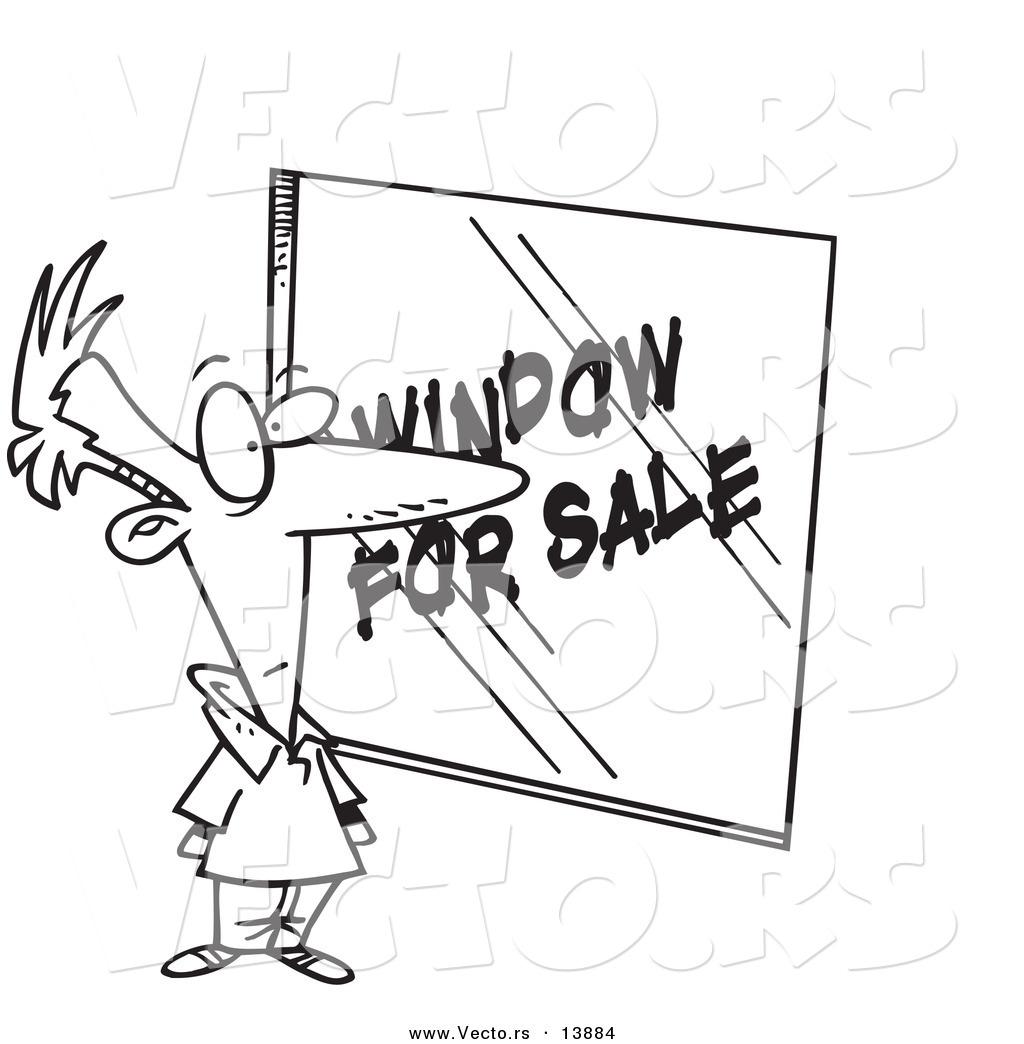 vector of a cartoon homeowner shopping for windows