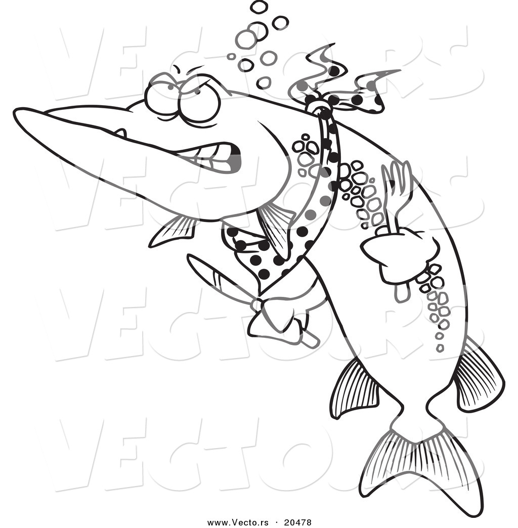 Vector Cartoon Hungry Muskie Fish Coloring Page Outline Ron