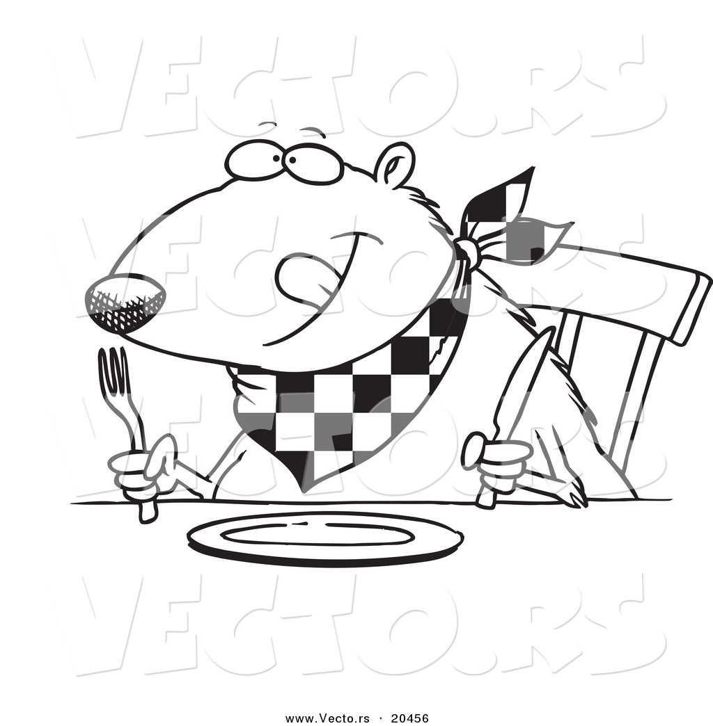 Vector Of A Cartoon Hungry Muskrat At A Table