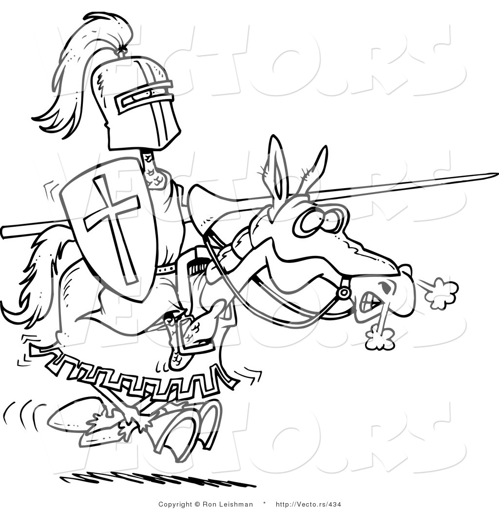 Royalty free jousting stock designs for Knight on horse coloring page