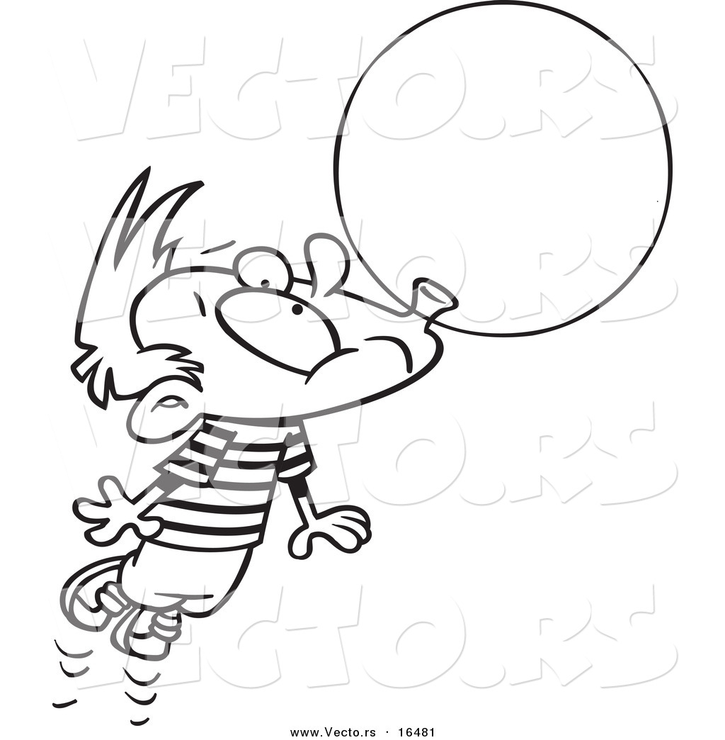 Larger Preview: Vector of a Cartoon Little Boy Floating Away with a ...