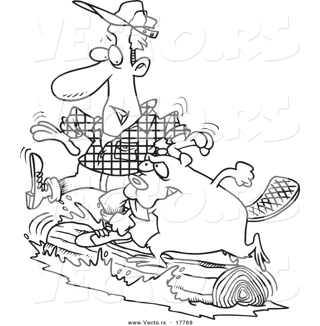 vector of a cartoon lumberjack and beaver log rolling outlined coloring page