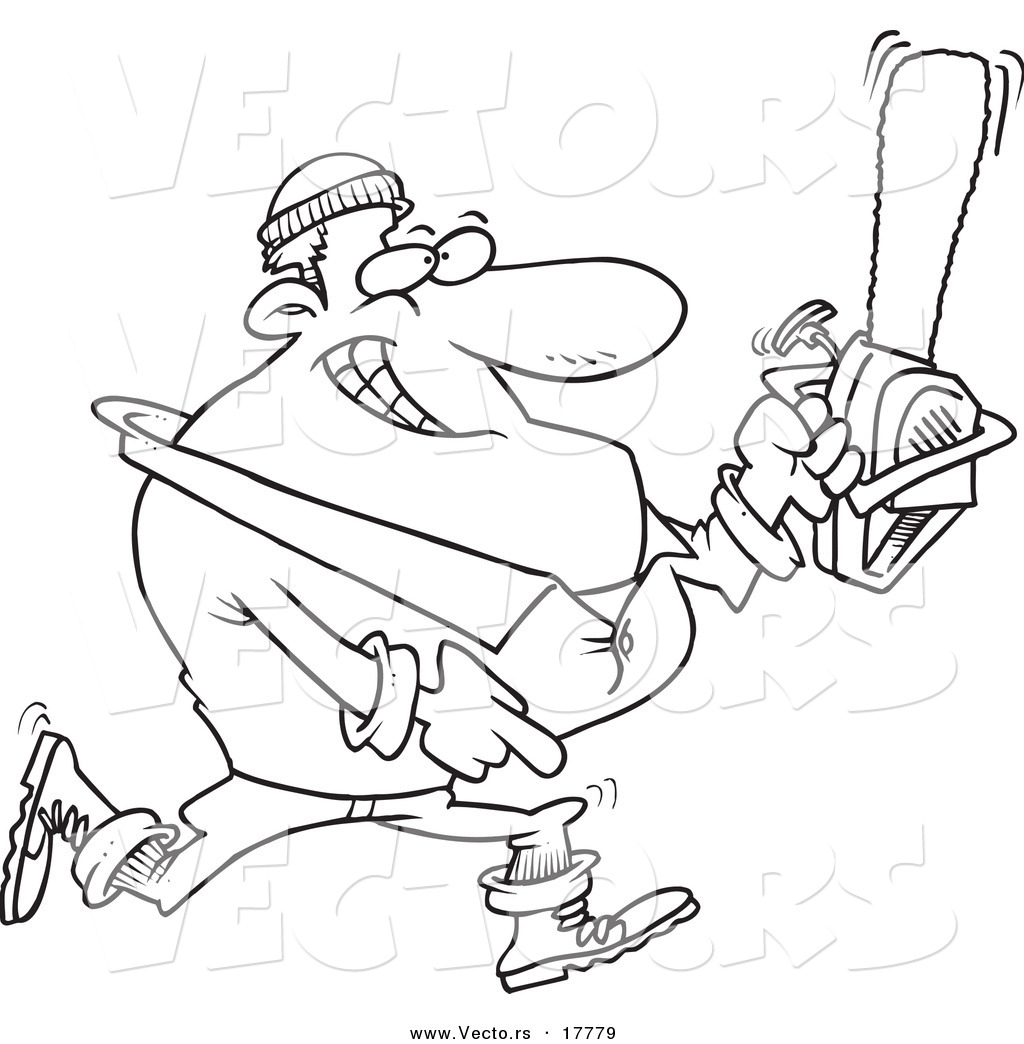 Vector of a cartoon lumberjack carrying a saw outlined for Chainsaw coloring pages