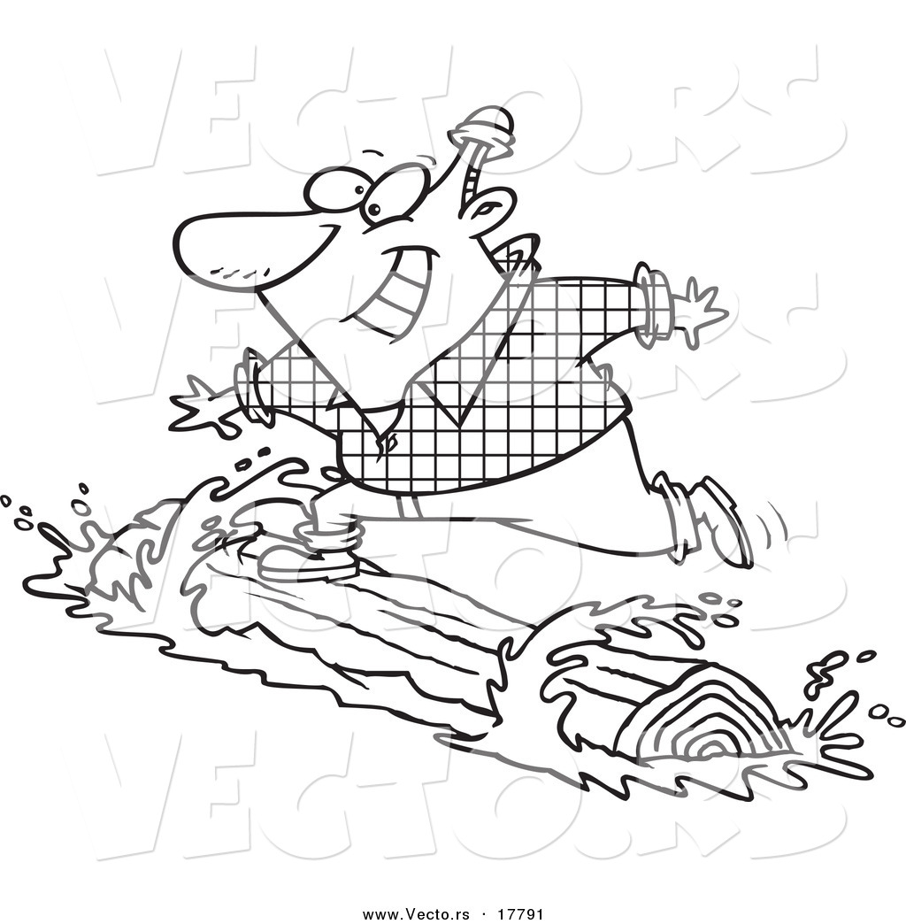 vector of a cartoon lumberjack log rolling outlined coloring page