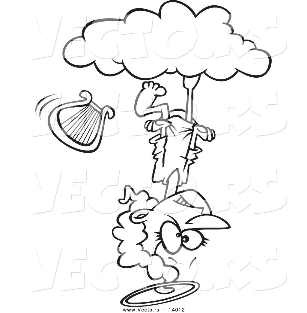 Cloud Cartoon Drawing Vector of a Cartoon Mad Angel