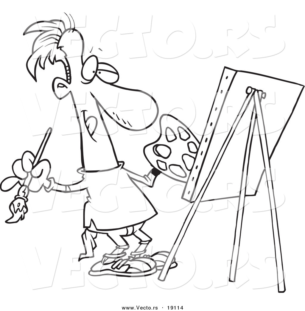 vector of a cartoon male artist painting his masterpiece outlined coloring page - Artist Coloring Page