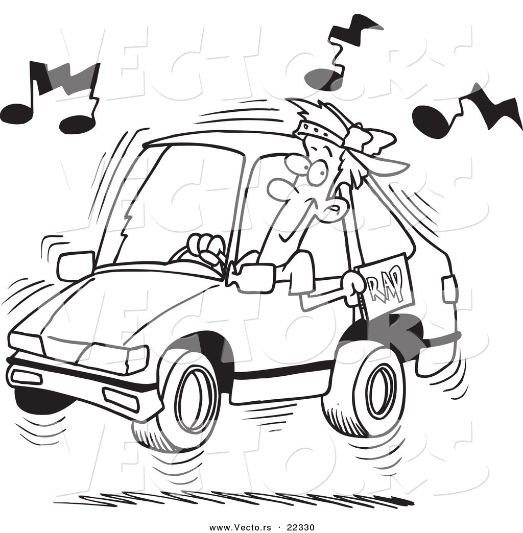 vector of a cartoon man blaring rap music in his car