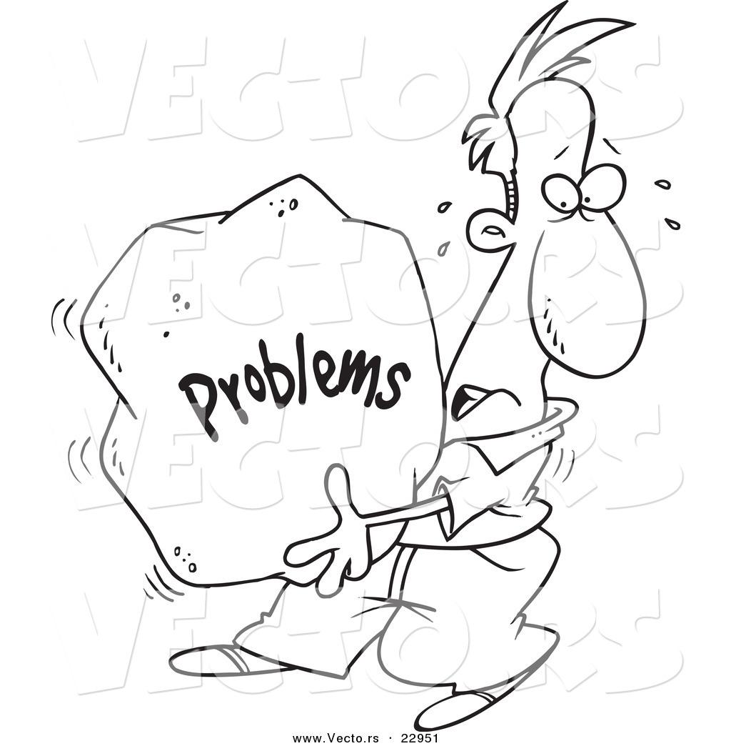Coloring Book No Problem : Vector of a cartoon man carrying heavy problem rock